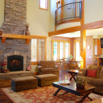 Stately fireplace accentuates this pleasant living room.